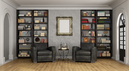 room door: Luxury living room with large bookcase full of books and two black classic armchairs - 3D Rendering Stock Photo