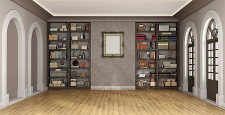 Luxe woonkamer met grote boekenkast vol boeken en objecten - 3D Rendering Stockfoto