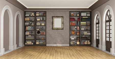 Luxury living room with large bookcase full of books and objects - 3D Rendering