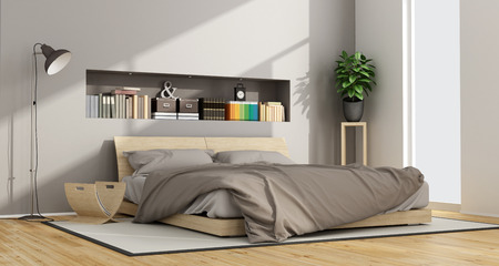 double bed: Bright Contemporary bedroom with wooden double bed and niche with objects - 3D Rendering