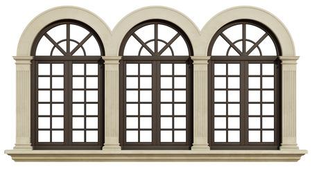 돌 프레임와 화이트 -3D 렌더링 pilaster 격리 된 멀리 논 창