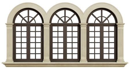 pilaster: Mullioned window with stone frame and pilaster isolated on white - 3D Rendering