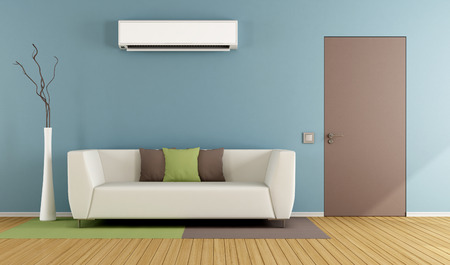 Eigentijdse woonkamer met witte sofa, airconditioning en gesloten deur - 3D Rendering