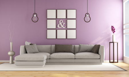 lilla: Contemporary living room with lilla wall and elegant sofa - 3D Rendering