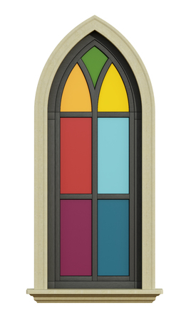 gothic window: Gothic window with stone frame and colorful glass opaque isolated on white - 3D Rendering Stock Photo