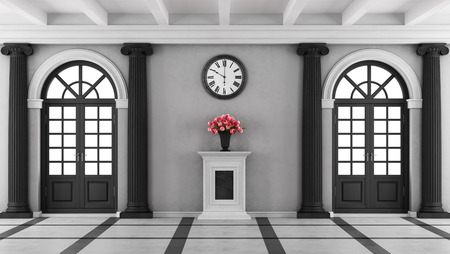 puertas de madera: entrada y el negro blanco casa de lujo con dos ventanas y pedestal con flores - 3D Foto de archivo