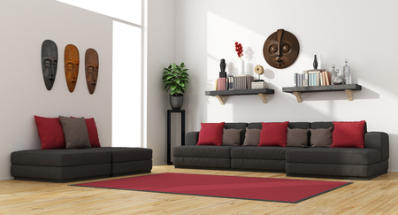 red wall: Contemporary living room with modern sofa and footstools -3D Rendering