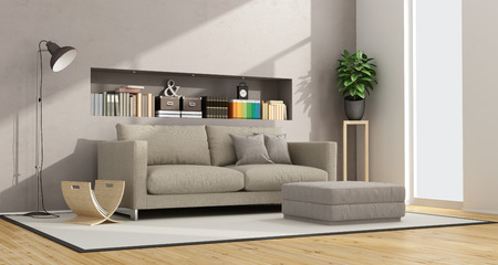 footstool: modern living room with sofa, footstool and niche with books and objects - 3D Rendering