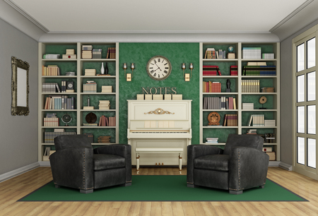 upright piano: Luxury living room with large bookcase full of books  two black classic armchairs and upright  piano - 3D Rendering