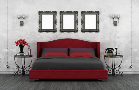 nightstands: Vintage bedroom with classic leather bed and iron nightstands - 3D Rendering Stock Photo