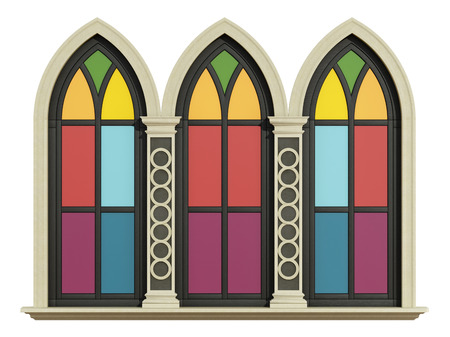 pilaster: Triple lancet window with stone frame , pilaster and colorful glass opaque, isolated on white - 3D Rendering