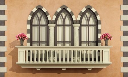 Old facade with classic balcony balustrade with triple lanced window - 3d rendering Stock Photo