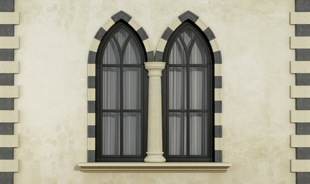 gothic window: Old facade with mullioned gothic window with stone frame and column- 3D Rendering