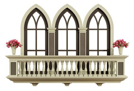 triple: Classic balcony balustrade with triple lancey window isolated on white - 3d rendering Stock Photo