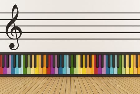 music notation: Music room with colorful keyboard and pentagram on wall - 3D Rendering