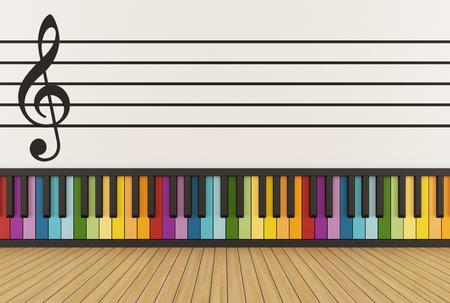 pentagramma musicale: Sala della musica con tastiera colorata e pentagramma sul muro - Rendering 3D
