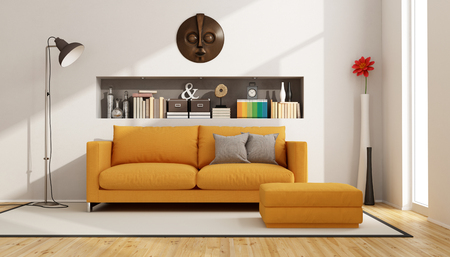 niche: Contemporary living room with sofa, footstool and niche with books and objects - 3D Rendering