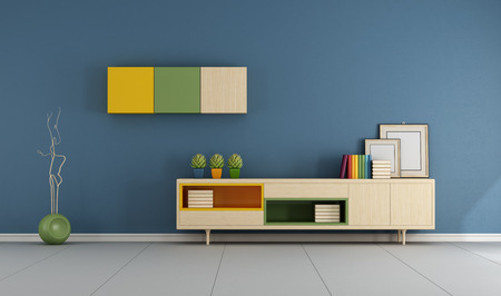sideboard: Blue living room with modern sideboard with books and blank frame - 3D Rendering