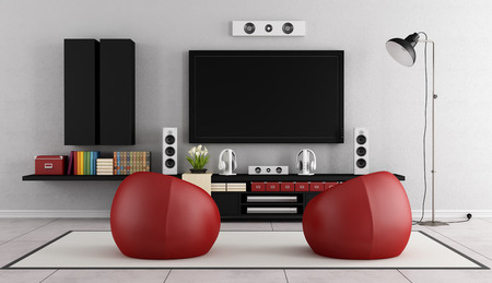 tv wall: Modern TV wall unit in a living room with two red armchair on carpet - 3D Rendering Stock Photo