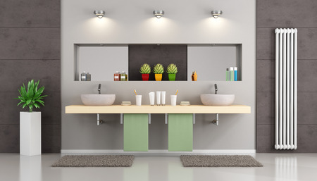 niche: Modern bathroom with double washbasin on wooden shelf , niche with mirror and objects - 3d Rendering Stock Photo