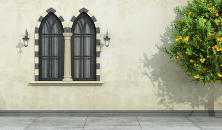 pilaster: Old facade with mullioned gothic black window with stone frame and column- 3D Rendering