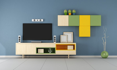 Modern TV wall unit in a  blue  living room  - 3D Rendering 스톡 콘텐츠
