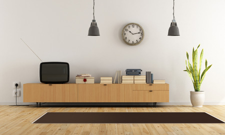 livingroom: Vintage living room with retro  tv and wooden sideboard - rendering Stock Photo