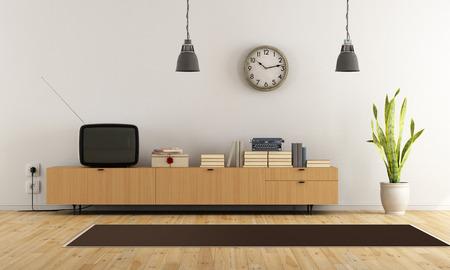 Weinlese-Wohnzimmer mit Retro-TV und Sideboard aus Holz - Rendering