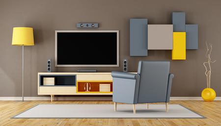 Moderne woonkamer met TV, wandmeubel en blauwe fauteuil - 3D Rendering