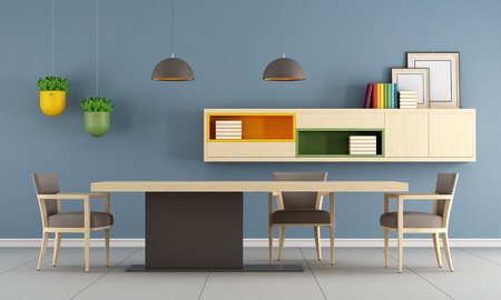 Modern dining room with table,chair and sideboard on wall - 3d Rendering
