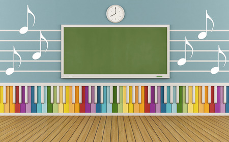 Classroom of a school of music with colorful keyboard and  musical notes on the wall-3D Rendering