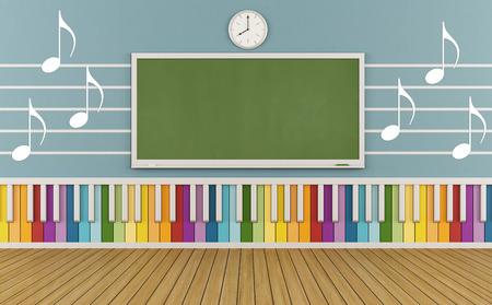 pentagramma musicale: Aula di una scuola di musica con tastiera colorata e note musicali sul muro-rendering 3D Archivio Fotografico