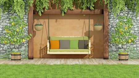 stucco: Wooden swing with colorful cushions in a garden with stone wall- 3D rendering
