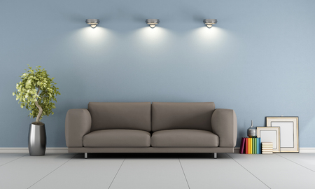 Blue lounge with elegant brown sofa - 3D Rendering Stock Photo