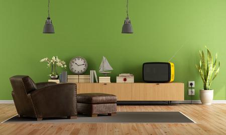 Sala de estar con televisión de época retro y un sillón de cuero con escabel - representación Foto de archivo - 52217548
