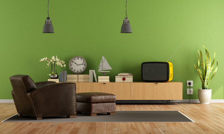 hassock: Vintage living room with retro  tv and leather armchair with hassock - rendering