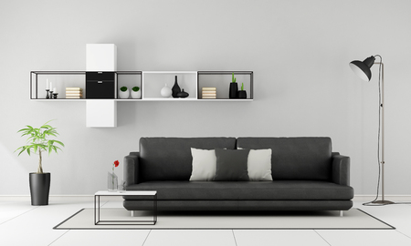 living room design: Minimalist living room with black sofa and sideboard on wall - 3D Rendering Stock Photo