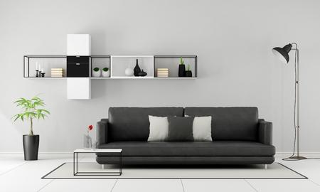 Salon Minimaliste avec canapé noir et buffet sur le mur - Rendu 3D Banque d'images - 51843496