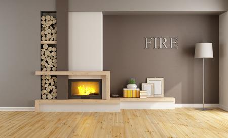 가구없이 미니멀 한 벽난로와 브라운 라운지 - 3D 렌더링 스톡 콘텐츠