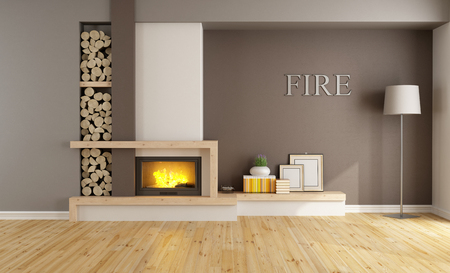 wood floor: Brown lounge with minimalist  fireplace, without furniture - 3D Rendering