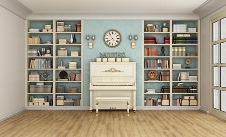 Luxe woonkamer met grote boekenkast vol boeken en piano - 3D Rendering Stockfoto