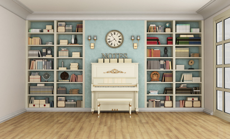 front room: Luxury living room with large bookcase full of books  and upright  piano - 3D Rendering Stock Photo