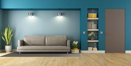 minimalist apartment: Blue and brown modern livingroom with sofa, niche and closed door - 3D Rendering Stock Photo