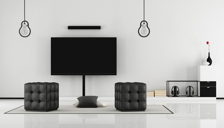living unit: Minimalist black and white lounge with tv set,sideboard and hassock-3D Rendering