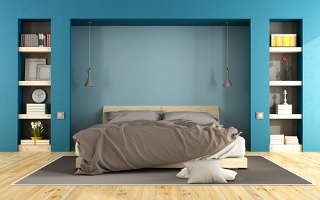 niche: Blue modern bedroom with wooden bed and niche with books - 3D Rendering