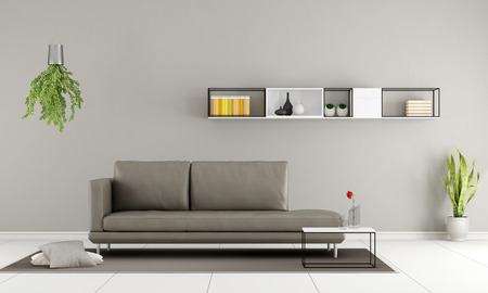 APARTMENT LIVING: Contemporary room with modern couch and  minimalist sideboard on wall - 3D Rendering Stock Photo
