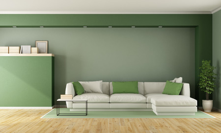 green living: Green living room with sofa on carpet - 3D Rendering