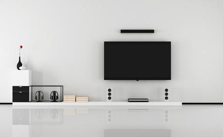Minimalistische zwart en wit lounge met tv set- 3D Rendering Stockfoto