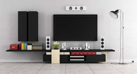 orador: habitación moderna sala de estar con TV, equipo de pared y sillón azul - 3D Foto de archivo