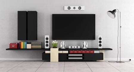 Moderne salle de salon avec TV, unité murale et un fauteuil bleu - Rendu 3D Banque d'images - 52154366